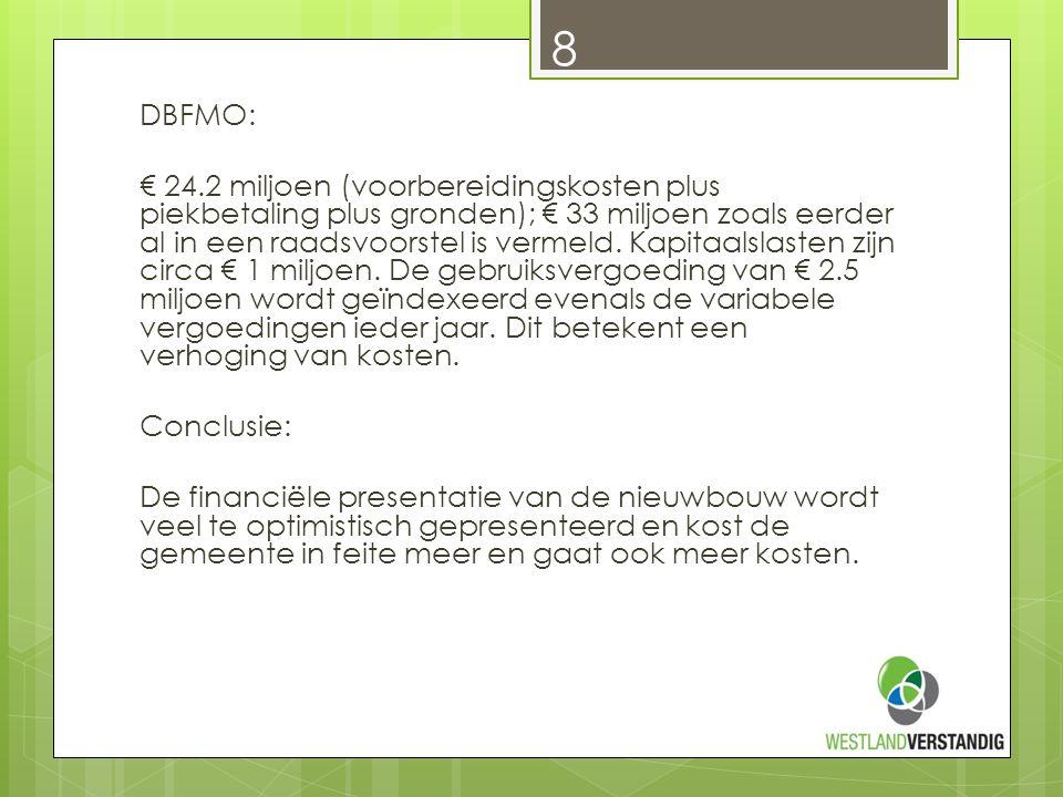 DBFMO: € 24.2 miljoen (voorbereidingskosten plus piekbetaling plus gronden); € 33 miljoen zoals eerder al in een raadsvoorstel is vermeld.