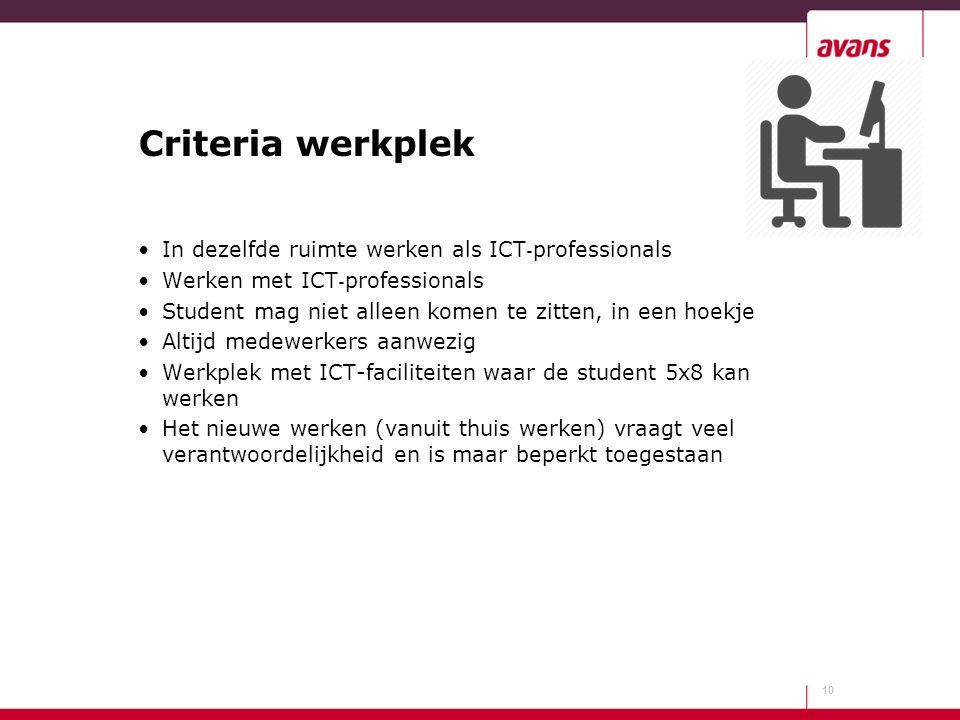 Criteria werkplek In dezelfde ruimte werken als ICT ‐ professionals Werken met ICT ‐ professionals Student mag niet alleen komen te zitten, in een hoe