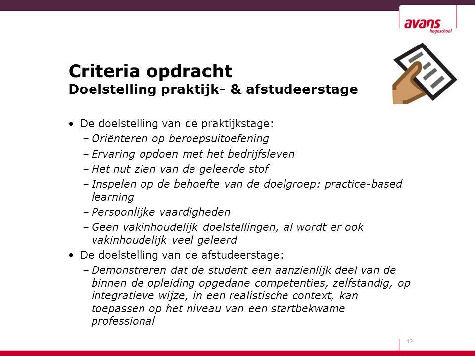 Criteria opdracht Doelstelling praktijk- & afstudeerstage De doelstelling van de praktijkstage: –Oriënteren op beroepsuitoefening –Ervaring opdoen met