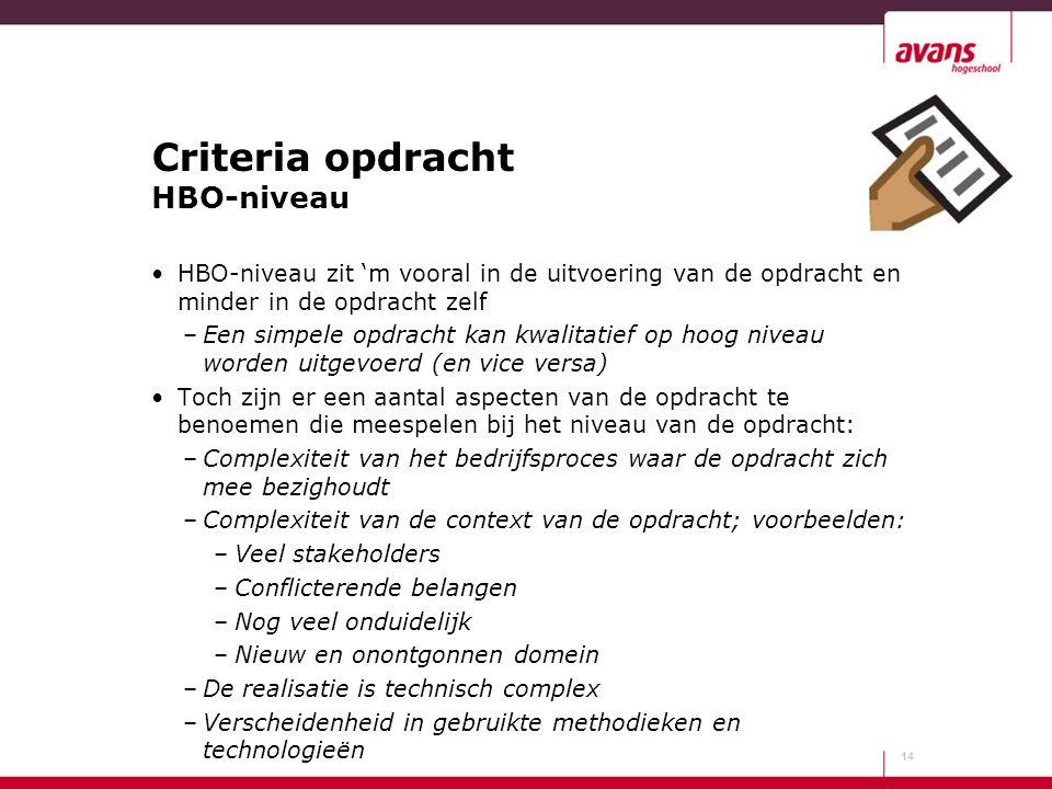Criteria opdracht HBO-niveau HBO-niveau zit 'm vooral in de uitvoering van de opdracht en minder in de opdracht zelf –Een simpele opdracht kan kwalita