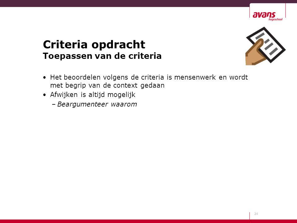 Criteria opdracht Toepassen van de criteria Het beoordelen volgens de criteria is mensenwerk en wordt met begrip van de context gedaan Afwijken is alt