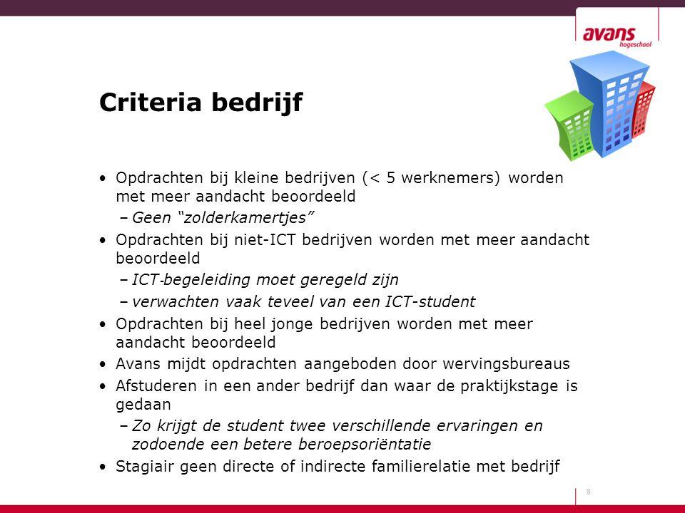 """Criteria bedrijf Opdrachten bij kleine bedrijven (< 5 werknemers) worden met meer aandacht beoordeeld –Geen """"zolderkamertjes"""" Opdrachten bij niet-ICT"""
