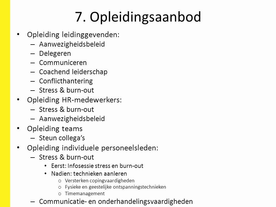 7. Opleidingsaanbod Opleiding leidinggevenden: – Aanwezigheidsbeleid – Delegeren – Communiceren – Coachend leiderschap – Conflicthantering – Stress &