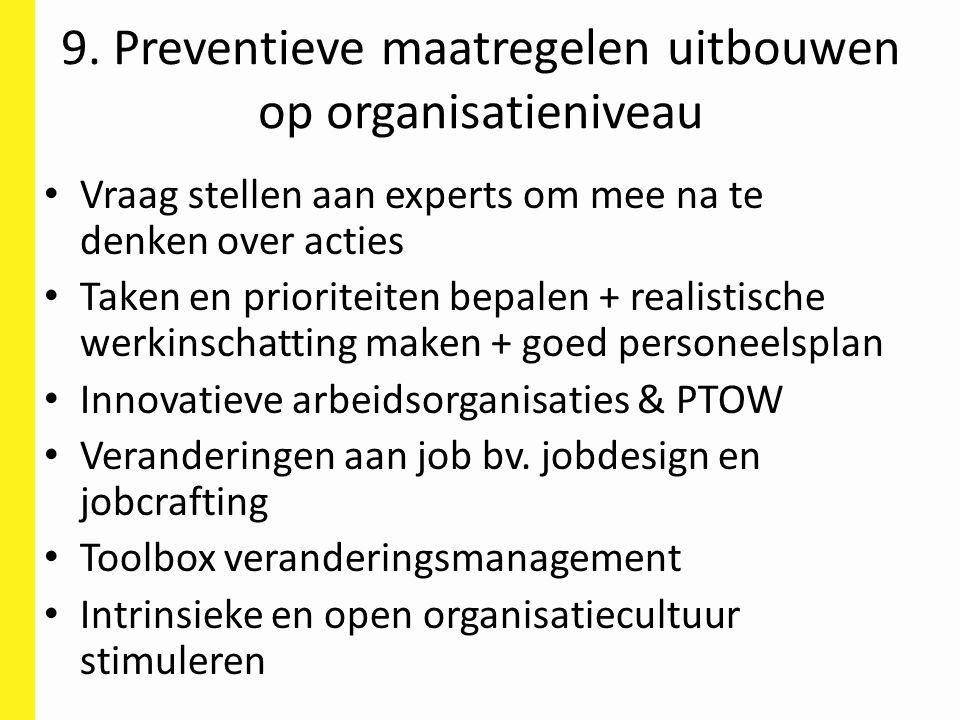 9. Preventieve maatregelen uitbouwen op organisatieniveau Vraag stellen aan experts om mee na te denken over acties Taken en prioriteiten bepalen + re