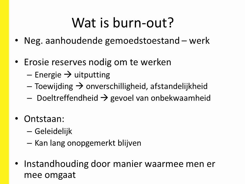 Wat is burn-out? Neg. aanhoudende gemoedstoestand – werk Erosie reserves nodig om te werken – Energie  uitputting – Toewijding  onverschilligheid, a