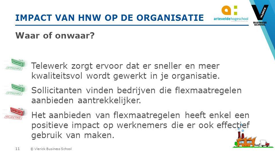 © Vlerick Business School IMPACT VAN HNW OP DE ORGANISATIE Waar of onwaar.