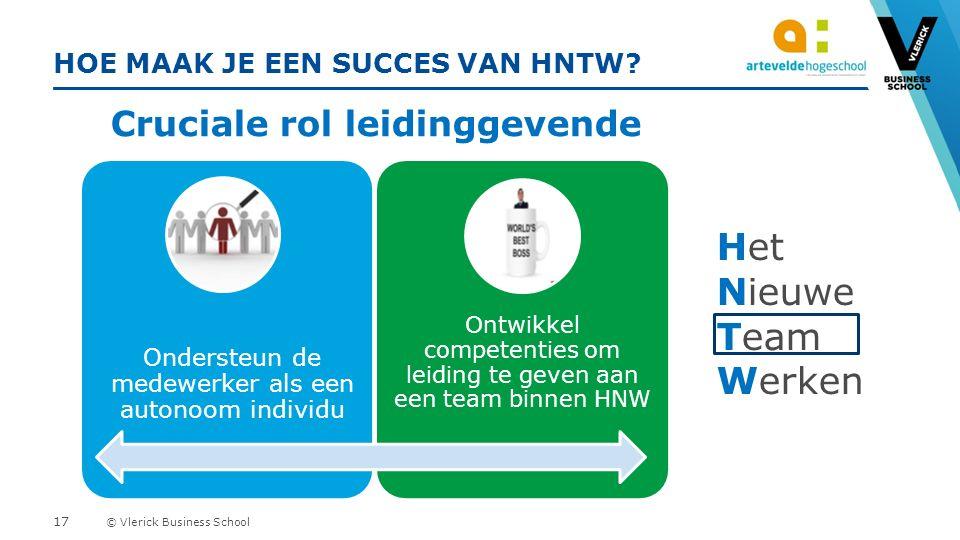 © Vlerick Business School HOE MAAK JE EEN SUCCES VAN HNTW.