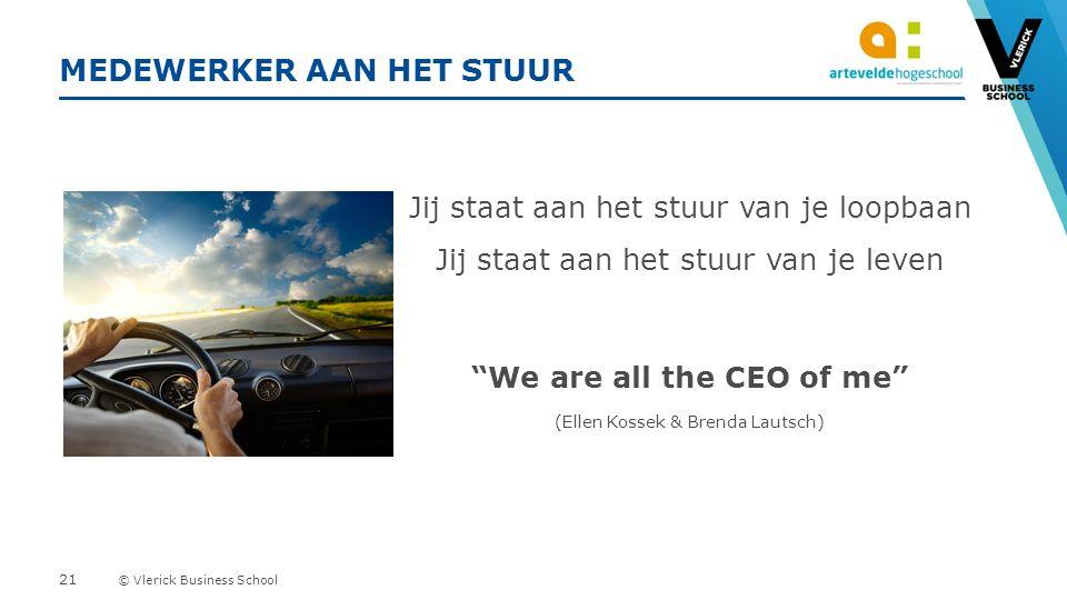 © Vlerick Business School MEDEWERKER AAN HET STUUR 21 Jij staat aan het stuur van je loopbaan Jij staat aan het stuur van je leven We are all the CEO of me (Ellen Kossek & Brenda Lautsch)