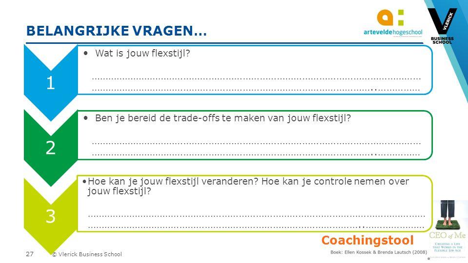 © Vlerick Business School BELANGRIJKE VRAGEN… Coachingstool 1 Wat is jouw flexstijl.