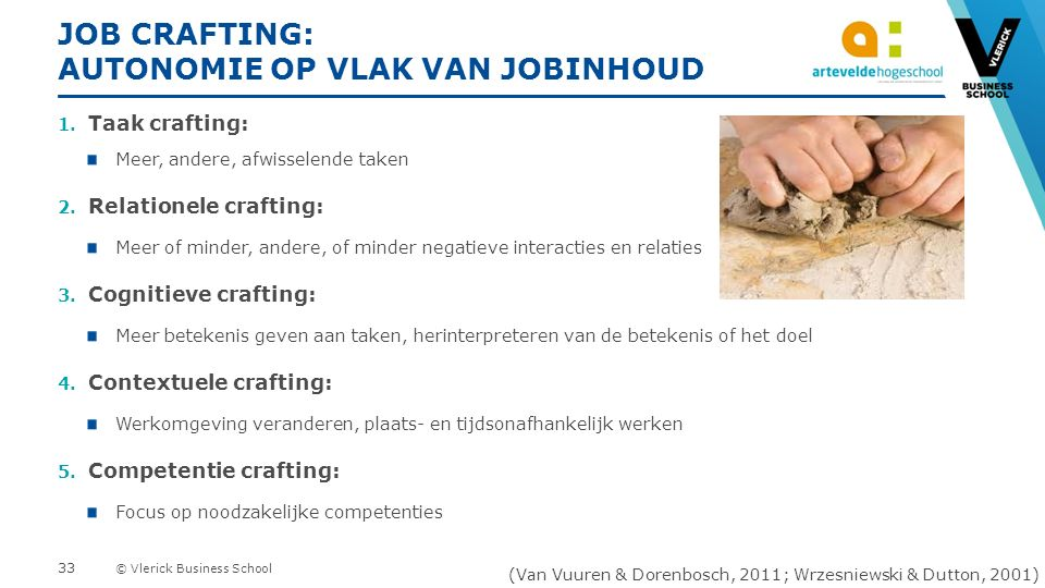 © Vlerick Business School JOB CRAFTING: AUTONOMIE OP VLAK VAN JOBINHOUD 1.