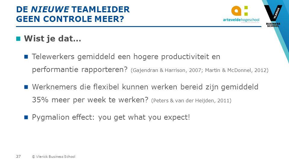 © Vlerick Business School DE NIEUWE TEAMLEIDER GEEN CONTROLE MEER.