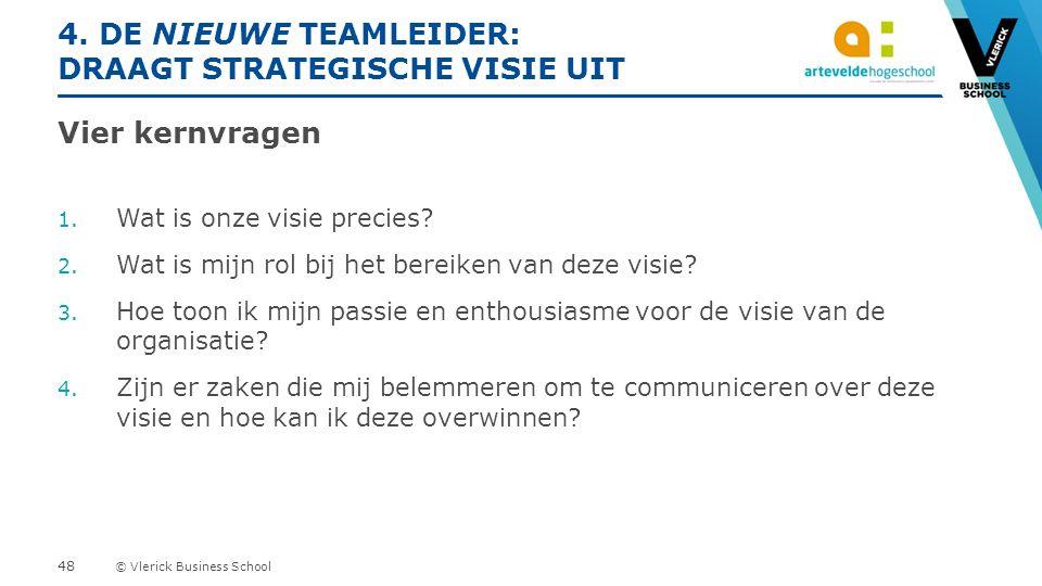© Vlerick Business School 4. DE NIEUWE TEAMLEIDER: DRAAGT STRATEGISCHE VISIE UIT Vier kernvragen 1.