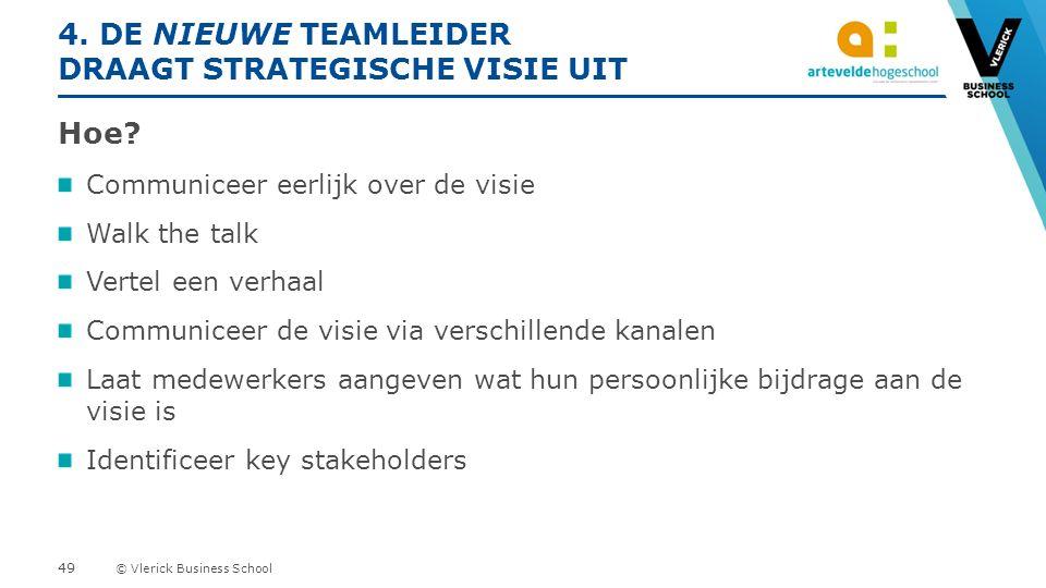 © Vlerick Business School 4. DE NIEUWE TEAMLEIDER DRAAGT STRATEGISCHE VISIE UIT Hoe.