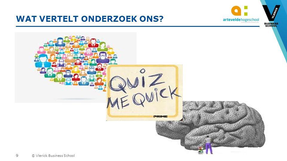 © Vlerick Business School WAT VERTELT ONDERZOEK ONS 9