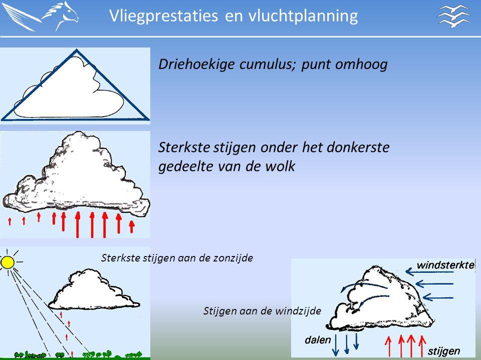 Vliegprestaties en vluchtplanning Sterkste stijgen onder het donkerste gedeelte van de wolk Driehoekige cumulus; punt omhoog Sterkste stijgen aan de zonzijde Stijgen aan de windzijde