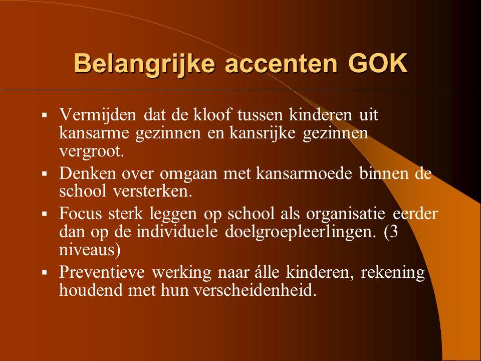 Omzendbrief GOK Doelgroep GOK:  Autochtone en allochtone kansarme kinderen in het gewoon basisonderwijs die omwille van hun sociale, culturele econom