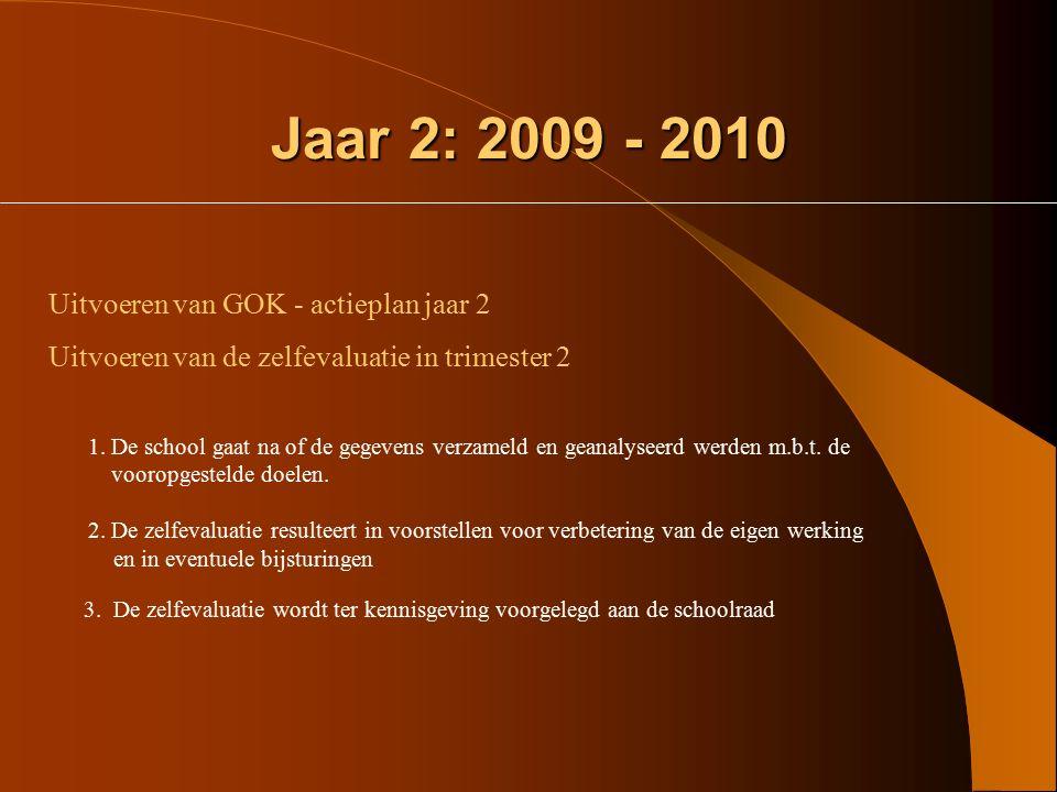 Jaar 1: 2008 – 2009 (2) Elke school legt op basis van deze beginsituatieanalyse voor zichzelf vast : - Welke concrete doelstellingen kiezen we op het
