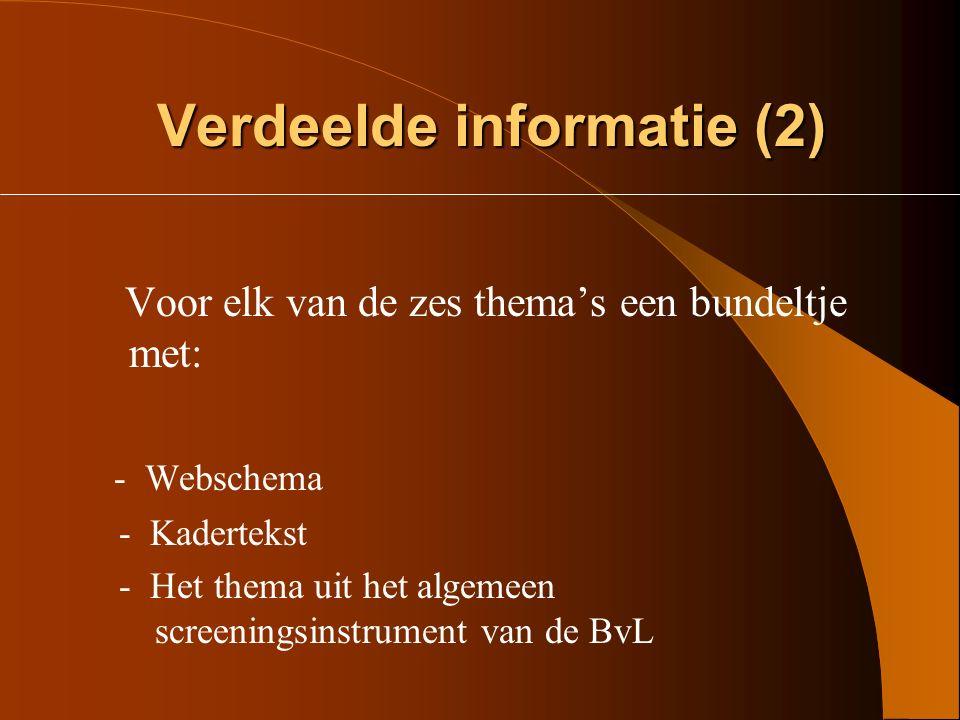 Verdeelde informatie (1) Bronnenbundel 1 = Vierveld A,B,C,D Bronnenbundel 2 = PR en DO Bronnenbundel 3 = TVO en DIV Bronnenbundel 4 = SEO en LO