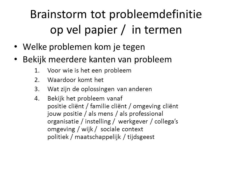 Brainstorm tot probleemdefinitie op vel papier / in termen Welke problemen kom je tegen Bekijk meerdere kanten van probleem 1.Voor wie is het een prob
