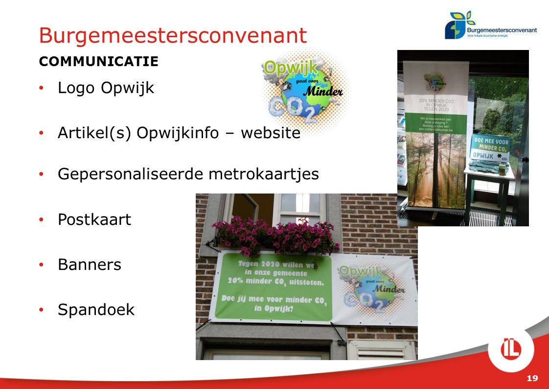19 Burgemeestersconvenant COMMUNICATIE Logo Opwijk Artikel(s) Opwijkinfo – website Gepersonaliseerde metrokaartjes Postkaart Banners Spandoek