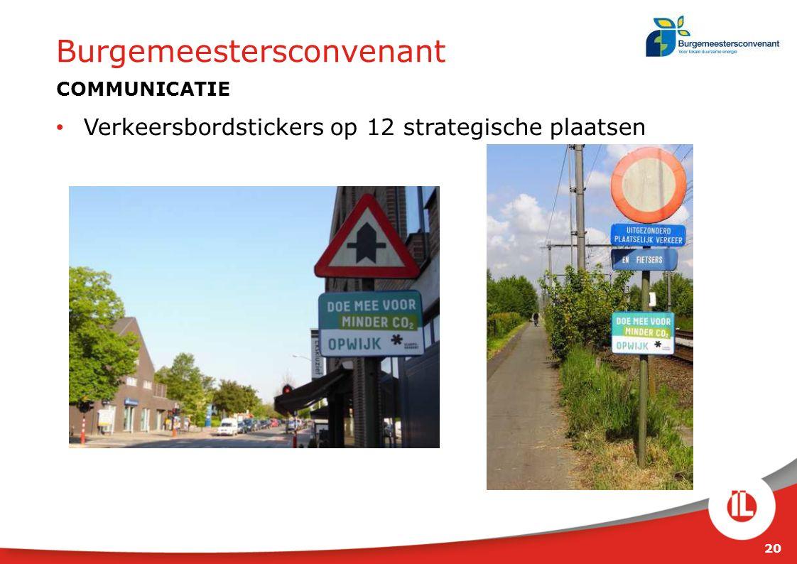20 Burgemeestersconvenant COMMUNICATIE Verkeersbordstickers op 12 strategische plaatsen