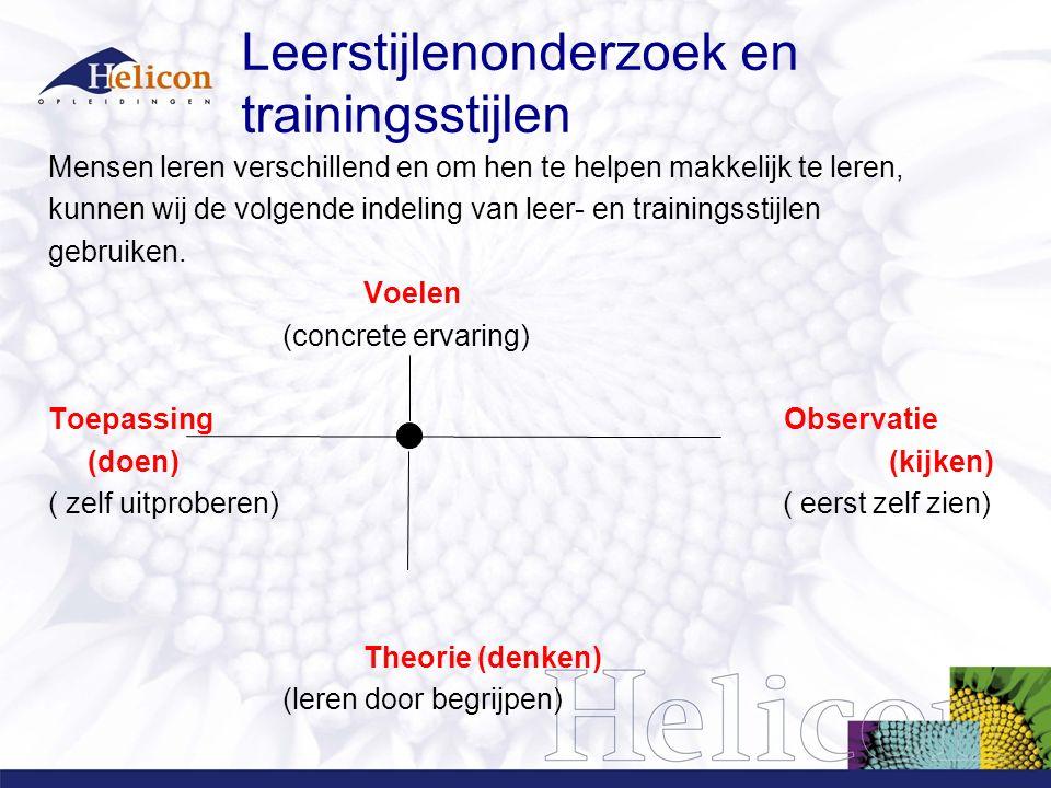 Leerstijlenonderzoek en trainingsstijlen Mensen leren verschillend en om hen te helpen makkelijk te leren, kunnen wij de volgende indeling van leer- e