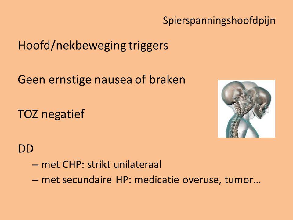 Spierspanningshoofdpijn Hoofd/nekbeweging triggers Geen ernstige nausea of braken TOZ negatief DD – met CHP: strikt unilateraal – met secundaire HP: m
