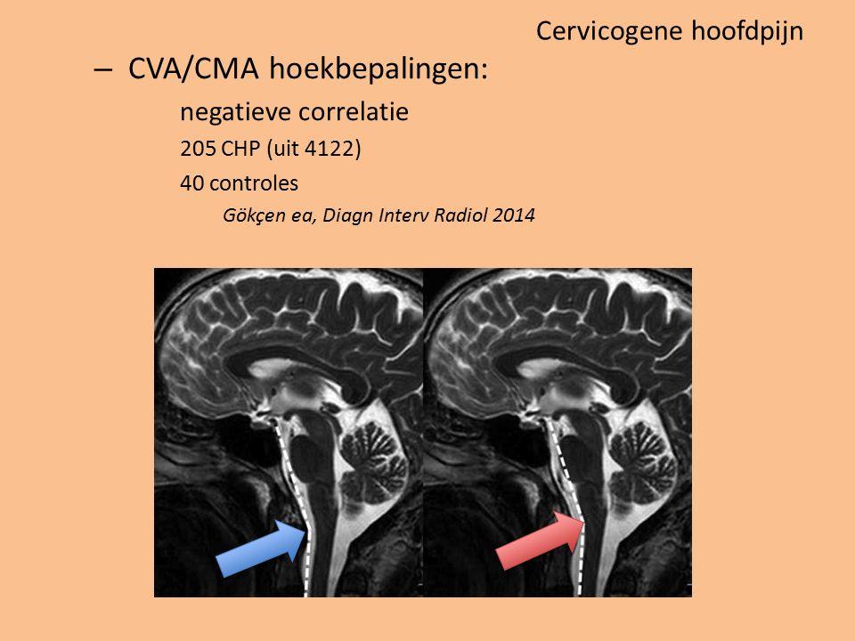 Cervicogene hoofdpijn – CVA/CMA hoekbepalingen: negatieve correlatie 205 CHP (uit 4122) 40 controles Gökçen ea, Diagn Interv Radiol 2014