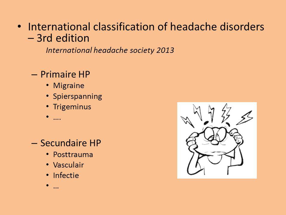 International classification of headache disorders – 3rd edition International headache society 2013 – Primaire HP Migraine Spierspanning Trigeminus …