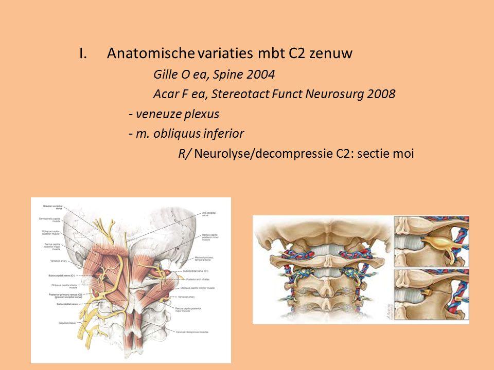 I.Anatomische variaties mbt C2 zenuw Gille O ea, Spine 2004 Acar F ea, Stereotact Funct Neurosurg 2008 - veneuze plexus - m. obliquus inferior R/ Neur