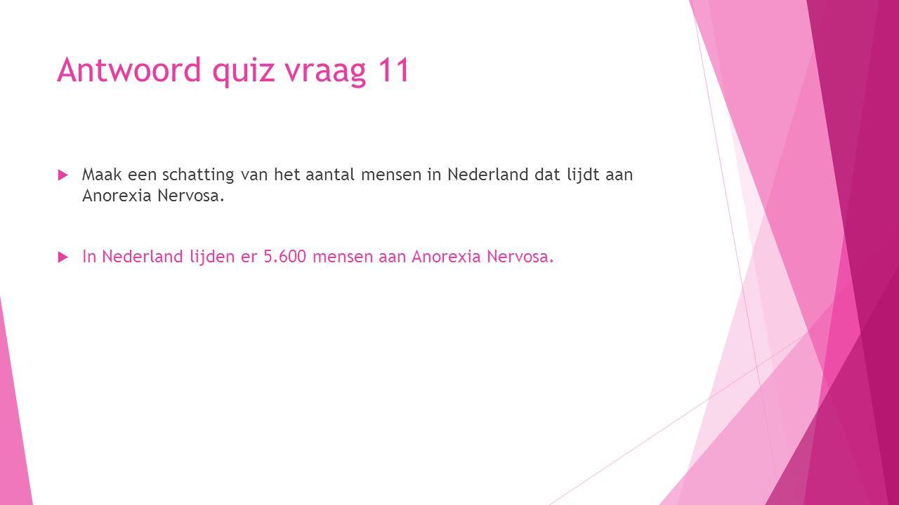 Antwoord quiz vraag 11  Maak een schatting van het aantal mensen in Nederland dat lijdt aan Anorexia Nervosa.  In Nederland lijden er 5.600 mensen a