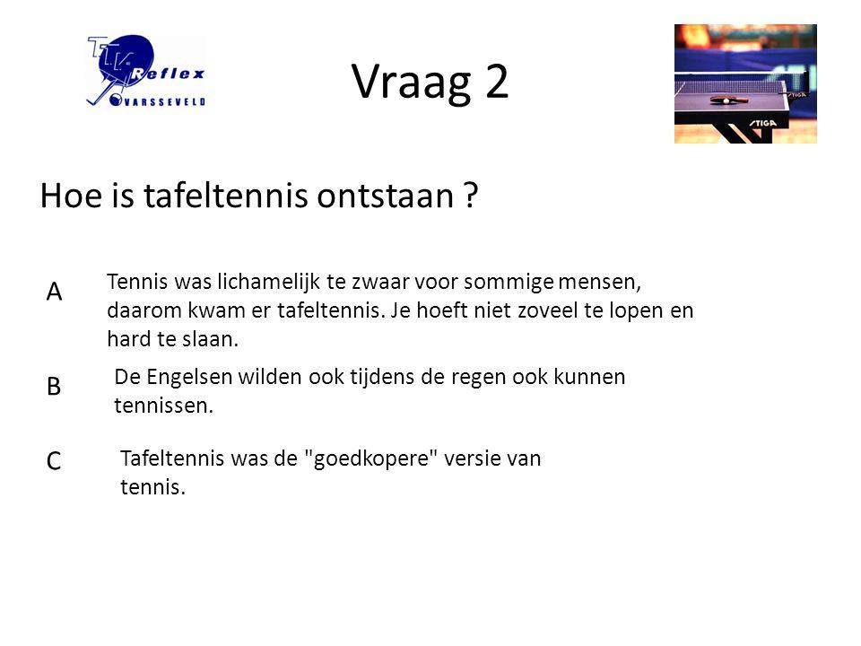 Vraag 3 Tafeltennis was al populair in de vorige eeuw, maar wanneer werd er octrooi verleend op miniature indoor tennis game .