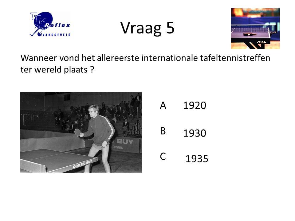 Vraag 6 Wanneer is de Internationale Tafeltennis Federatie (ITTF) opgericht ? A B C 1922 1924 1926