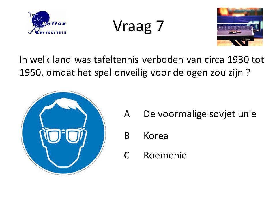 Vraag 8 Wanneer is de Nedelandse Tafeltennis Bond (NTTB) opgericht .