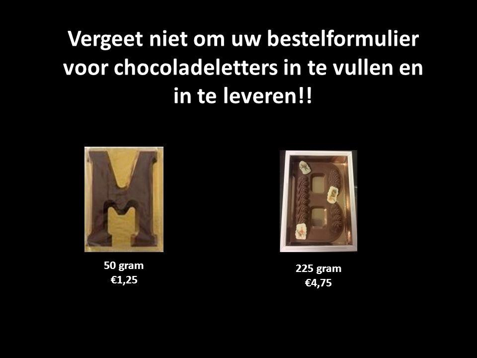Vergeet niet om uw bestelformulier voor chocoladeletters in te vullen en in te leveren!! 50 gram €1,25 225 gram €4,75