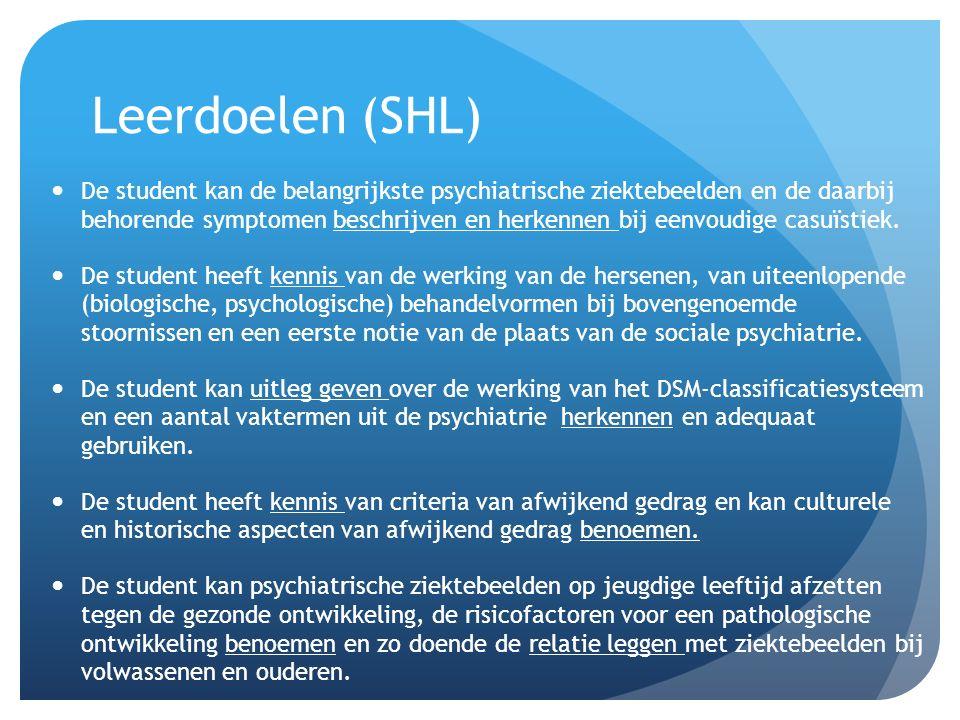 Leerdoelen (SHL) De student kan de belangrijkste psychiatrische ziektebeelden en de daarbij behorende symptomen beschrijven en herkennen bij eenvoudige casuïstiek.