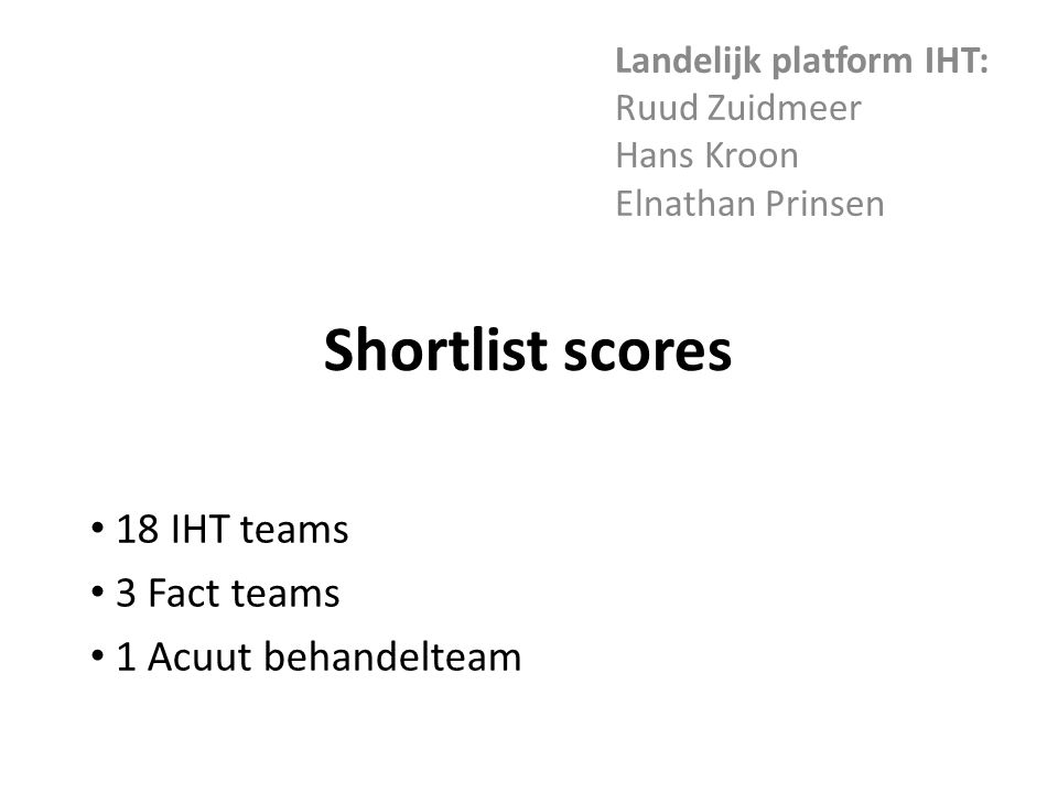 Shortlist scores Landelijk platform IHT: Ruud Zuidmeer Hans Kroon Elnathan Prinsen 18 IHT teams 3 Fact teams 1 Acuut behandelteam