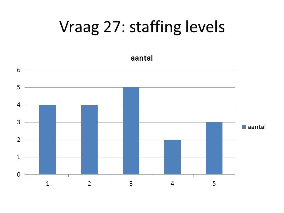 Vraag 27: staffing levels