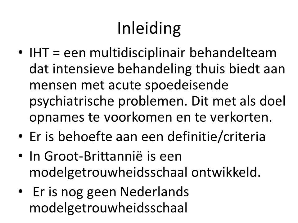 Inleiding IHT = een multidisciplinair behandelteam dat intensieve behandeling thuis biedt aan mensen met acute spoedeisende psychiatrische problemen.