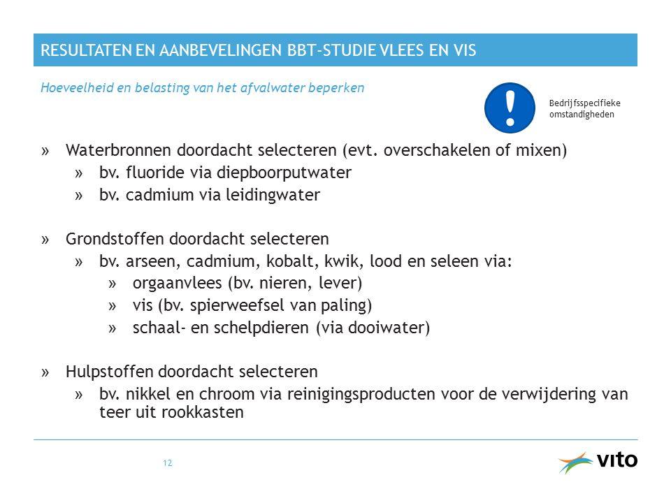 RESULTATEN EN AANBEVELINGEN BBT-STUDIE VLEES EN VIS »Waterbronnen doordacht selecteren (evt. overschakelen of mixen) »bv. fluoride via diepboorputwate