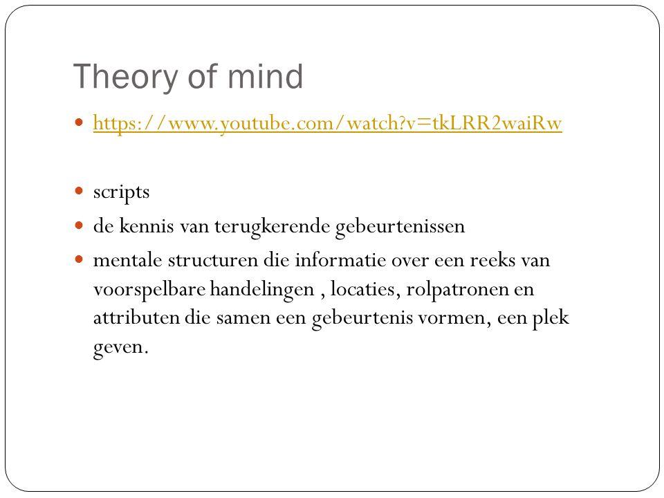 Theory of mind https://www.youtube.com/watch?v=tkLRR2waiRw scripts de kennis van terugkerende gebeurtenissen mentale structuren die informatie over ee