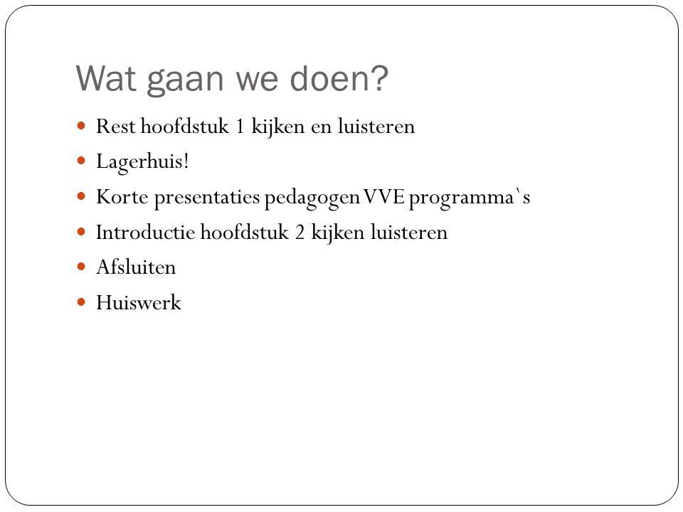 Wat gaan we doen? Rest hoofdstuk 1 kijken en luisteren Lagerhuis! Korte presentaties pedagogen VVE programma`s Introductie hoofdstuk 2 kijken luistere
