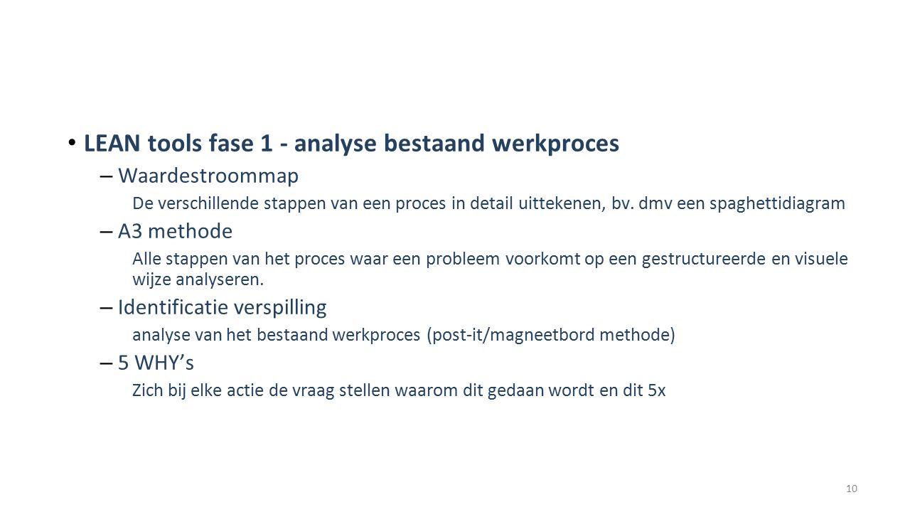 LEAN tools fase 1 - analyse bestaand werkproces – Waardestroommap De verschillende stappen van een proces in detail uittekenen, bv.