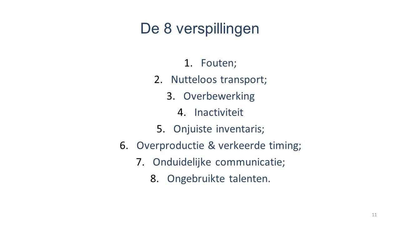 De 8 verspillingen 1.Fouten; 2.Nutteloos transport; 3.Overbewerking 4.Inactiviteit 5.Onjuiste inventaris; 6.Overproductie & verkeerde timing; 7.Onduidelijke communicatie; 8.Ongebruikte talenten.