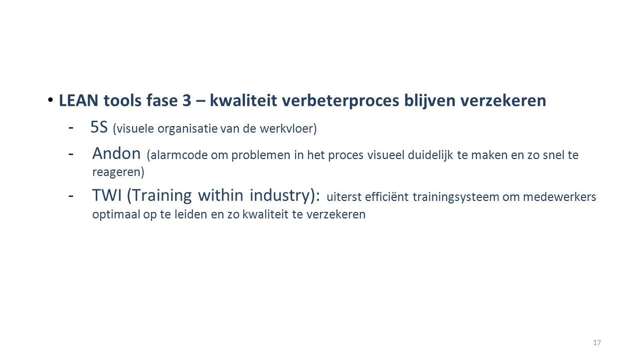 LEAN tools fase 3 – kwaliteit verbeterproces blijven verzekeren - 5S (visuele organisatie van de werkvloer) -Andon (alarmcode om problemen in het proces visueel duidelijk te maken en zo snel te reageren) -TWI (Training within industry): uiterst efficiënt trainingsysteem om medewerkers optimaal op te leiden en zo kwaliteit te verzekeren 17