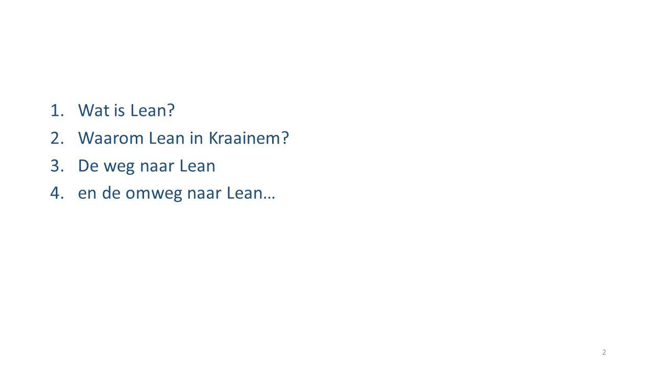 1.Wat is Lean? 2.Waarom Lean in Kraainem? 3.De weg naar Lean 4.en de omweg naar Lean… 2