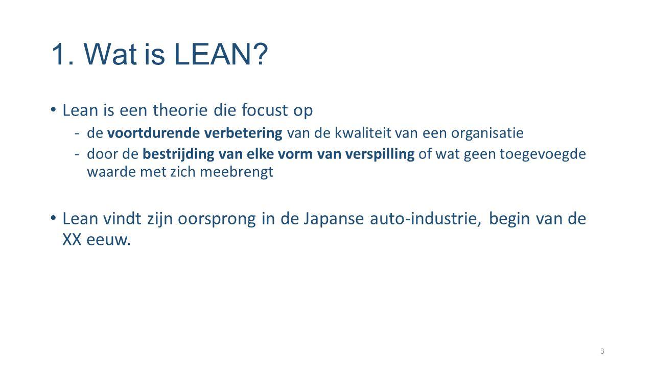 1. Wat is LEAN? Lean is een theorie die focust op -de voortdurende verbetering van de kwaliteit van een organisatie -door de bestrijding van elke vorm