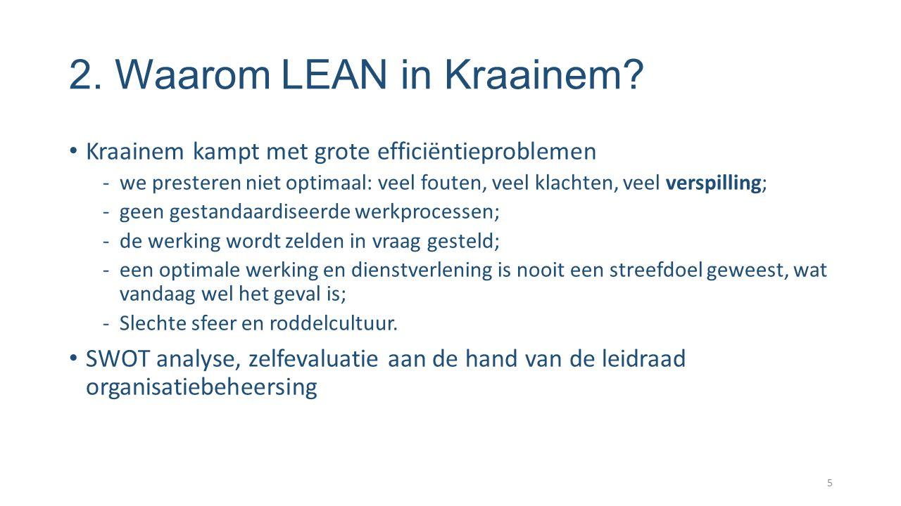 2. Waarom LEAN in Kraainem? Kraainem kampt met grote efficiëntieproblemen -we presteren niet optimaal: veel fouten, veel klachten, veel verspilling; -