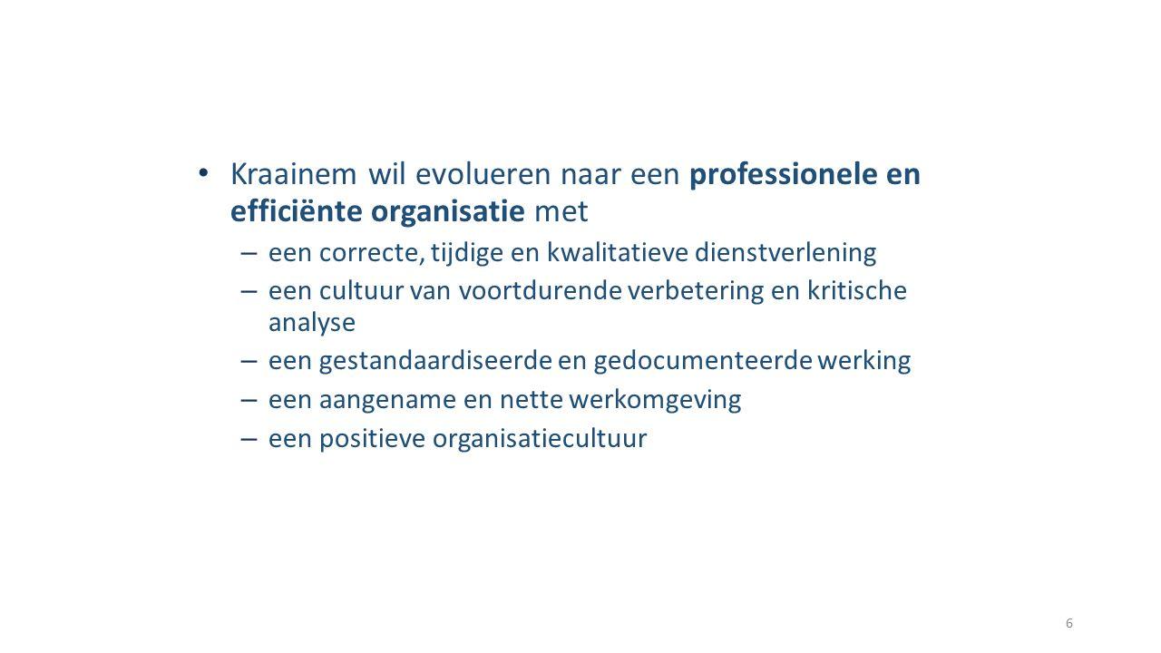 Kraainem wil evolueren naar een professionele en efficiënte organisatie met – een correcte, tijdige en kwalitatieve dienstverlening – een cultuur van voortdurende verbetering en kritische analyse – een gestandaardiseerde en gedocumenteerde werking – een aangename en nette werkomgeving – een positieve organisatiecultuur 6