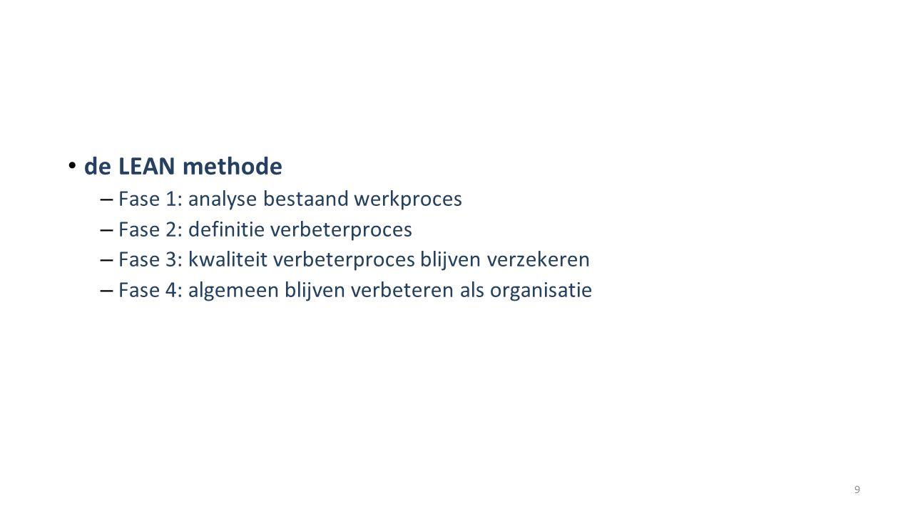 de LEAN methode – Fase 1: analyse bestaand werkproces – Fase 2: definitie verbeterproces – Fase 3: kwaliteit verbeterproces blijven verzekeren – Fase 4: algemeen blijven verbeteren als organisatie 9
